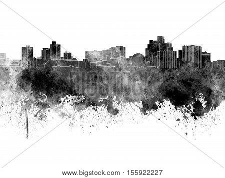 Reno Skyline In Black Watercolor On White Background