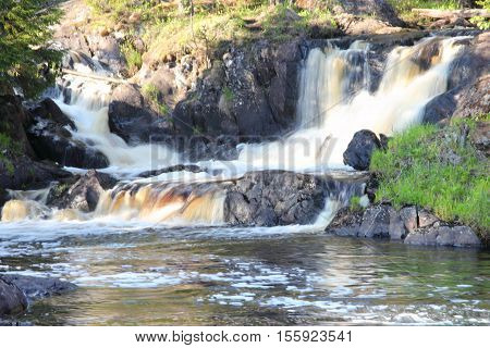 Waterfall in the Republic of Karelia Russia. Northern nature