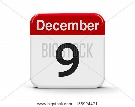 Calendar web button - The Ninth of December - International Day Against Corruption three-dimensional rendering 3D illustration