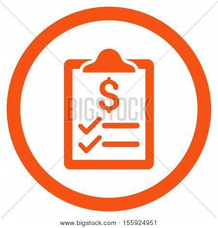 Invoice Pad rounded icon. Vector illustration style is flat iconic symbol, orange color, white background.