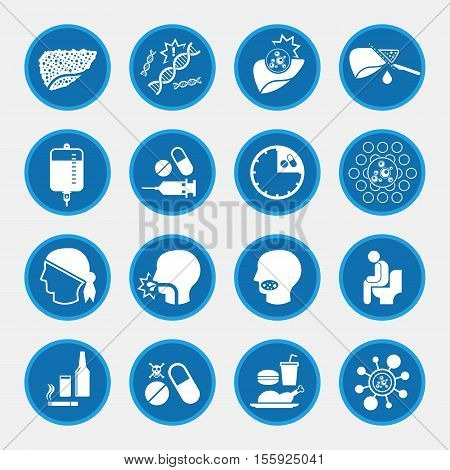 Liver Cancer icons for infographic, circle blue button