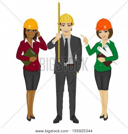 Architect team standing wearing safety helmet hat holding blueprints, clipboard and tape measure over white background
