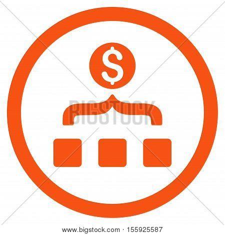 Money Aggregator rounded icon. Vector illustration style is flat iconic symbol, orange color, white background.