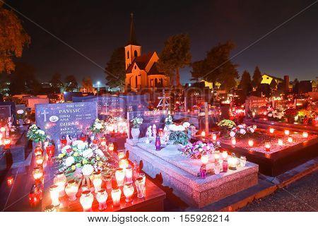 Illuminated Cemetery On All Saints Day