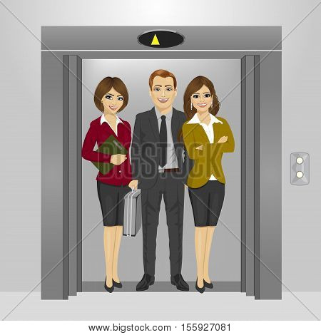 young business people standing together inside office building elevator