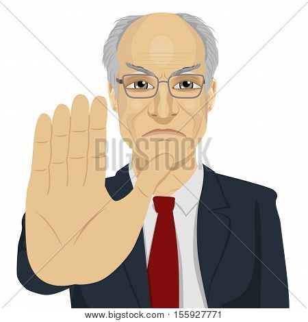 angry senior businessman with glasses showing stop gesture over white background