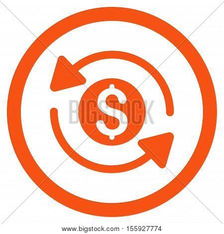 Money Turnover rounded icon. Vector illustration style is flat iconic symbol, orange color, white background.