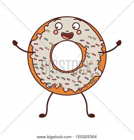 avatar donut with white glazed and colored sparks vector illustration