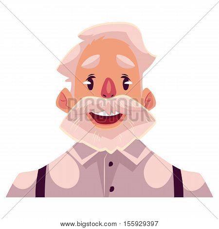 Grey haired old man face wow facial expression, cartoon vector illustrations isolated on white background. Old man, grandfather emoji surprised, amazed, astonished. Surprised, wow face expression