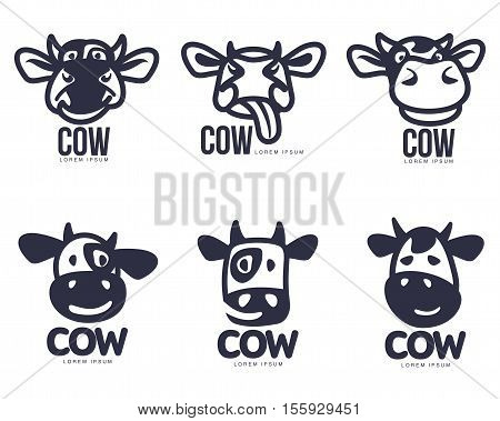 Set of funny cow head logo templates, cartoon vector illustration on white background. Set of cute, smiling, funny cow faces for dairy, beef, farm products logo design