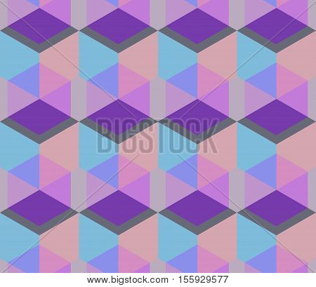 Vector regular Texture. Cubic seamless Pattern. Geometric background of hexagons. Grid Pattern. Abstract Background. Isometric background. Three-dimensional Pattern. Vintage colors.