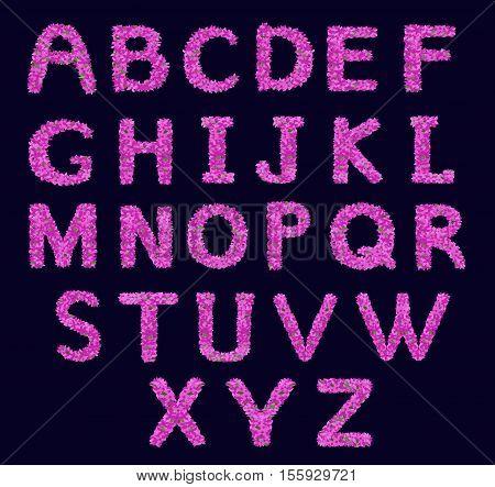 Floral alphabet. Alphabet letterhead. Lilac flower alphabet in violet colour. Vector illustration with isolated floral letters.