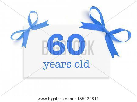 60 years old written on a card