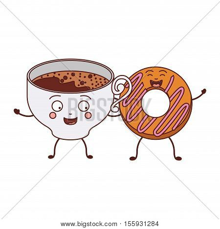 avatar donut with pink spiral glazed and holding cup of coffee vector illustration