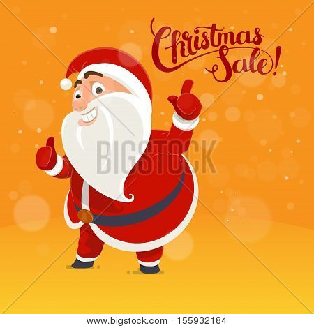 Santa Claus points on the inscription card concept Christmas poster lettering idea Holiday Sale