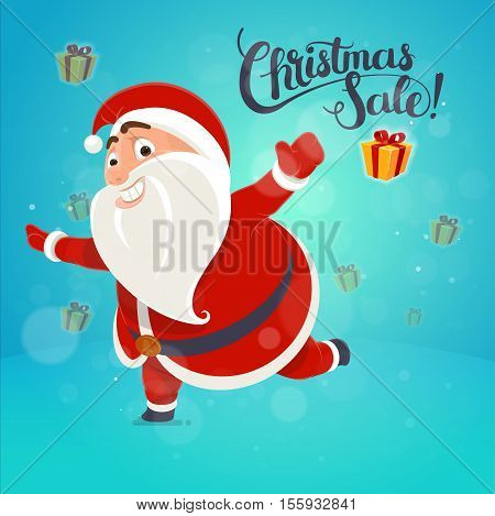 Happy Santa Claus points on the inscription card concept poster lettering idea Holiday Sale