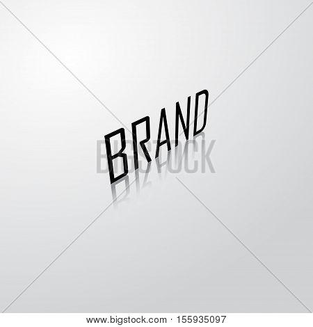 Background with black brand name with shadow