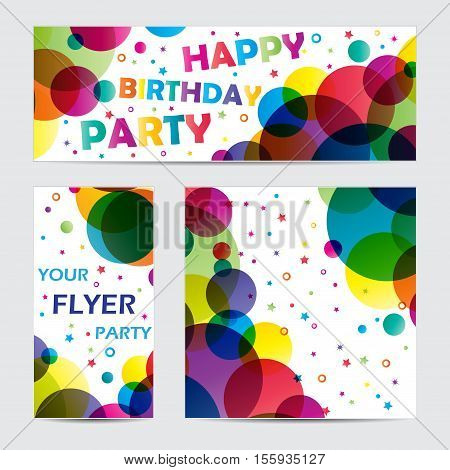 Set of three party banners with different color circles