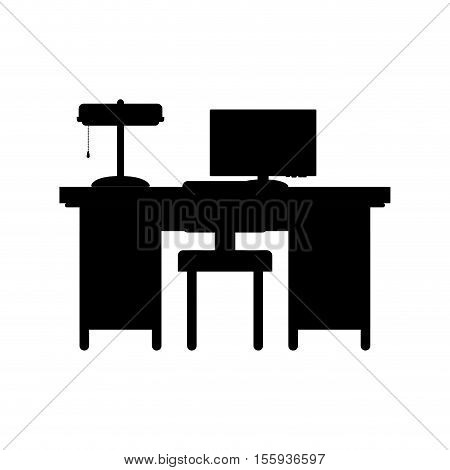 silhouette desk with computer and chair vector illustration