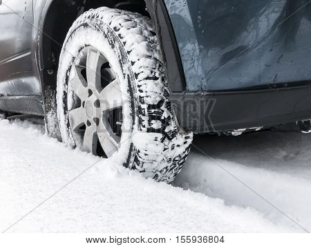 Modern Car Fragment, Wheel In Snow