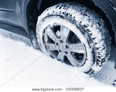 Car Wheel With Studded Tire On Snow