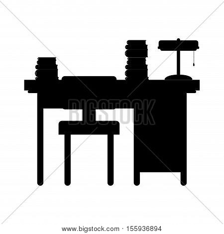 black silhouette desk with computer and chair vector illustration