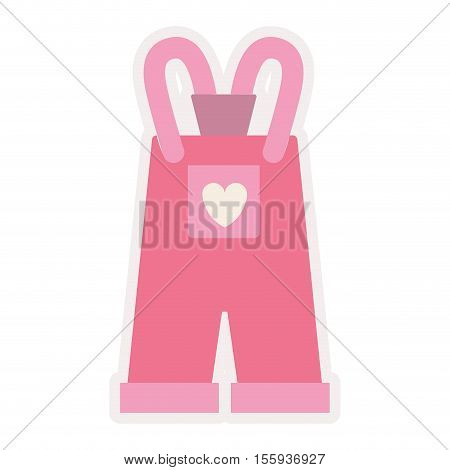 pink overall for baby girl vector illustration