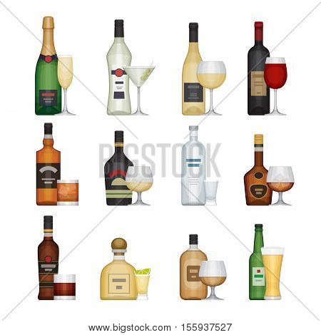 Set of alcohol bottle with glasses. Alcohol drinks and beverages. Flat design style vector illustration.