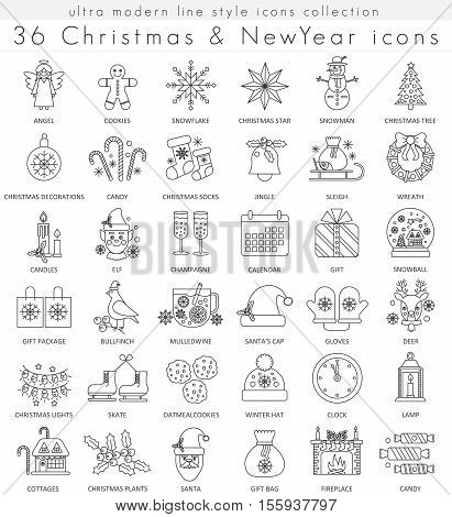 Vector Christmas and Happy New Year ultra modern outline line icons for apps and web design. Christmas sybols for app and web