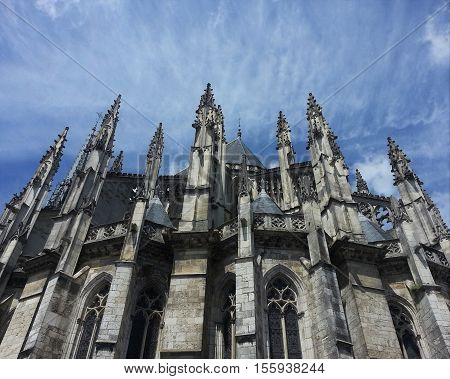 Photograph taken from below the buttresses of Cathedral of Sainte-Croix in Orleans, France