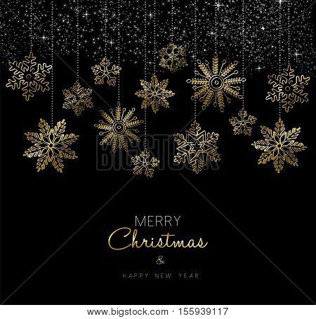Christmas And New Year Gold Snow Decoration Card