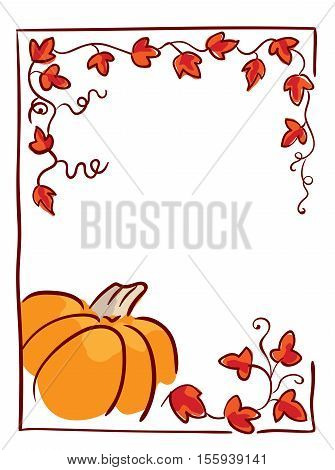 Thanksgiving day design element. Pumpkin, tendrils and large lobed leaves. Greeting or invitation card template, hand drawn sketchy illustration, vector clip-art. Red, black, orange and white