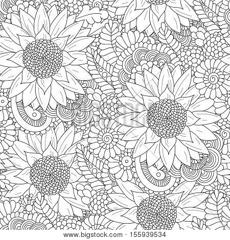 Doodle seamless pattern with sunflowers. Hand drawing floral indian background in . Ayurveda collection