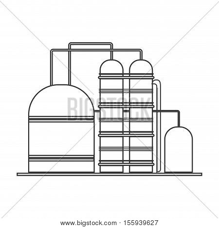 silhouette with industry refinery of petroleum of closeup vector illustration