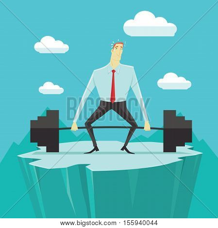 Businessman with heavy barbell, the concept of achievements in business-vector illustration.