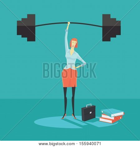 Businesswoman holding a barbell with one hand, the concept of achievements in business-vector illustration.