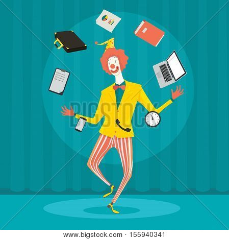 Funny clown juggling with office equipment. Creative vector cartoon illustration on make money and wealth management concept.