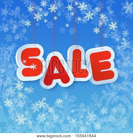 Winter sale in paper tags style. Chrismas winter discount symbol in beautiful blue background