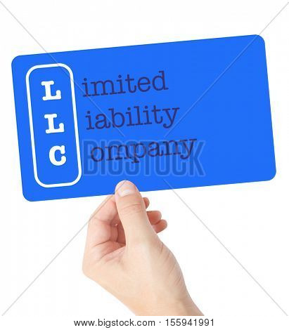 Limited Liability Company explained on a card held by a hand