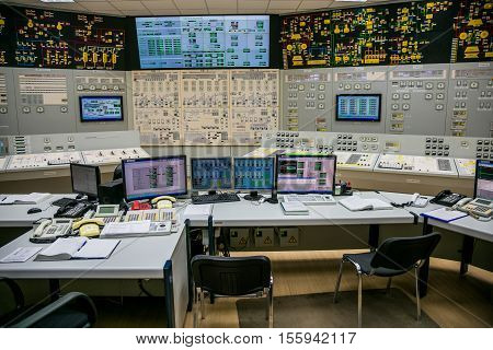 Novovoronezh, Russia - April 04, 2015: Inside the control room of fifth power unit of the Novovoronezh Nuclear Power Plant. Control panel. Blog tour to Nuclear Power Plant, April 04 2015, in Russia