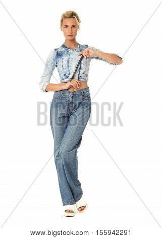 Beautiful Woman In Denim Jacket With Bun Blonde Hair On White