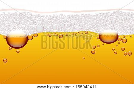 Vector horizontal seamless beer bubble pattern. Beer background.