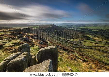 Moving Cloud over Curbar Edge, Peak District, Derbyshire, England