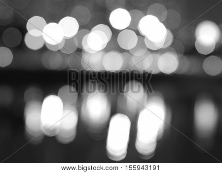 Black and white night city lights bokeh with reflections background hd