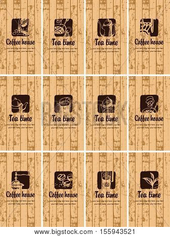 set of business cards on the theme of tea and coffee on the background texture of wooden boards