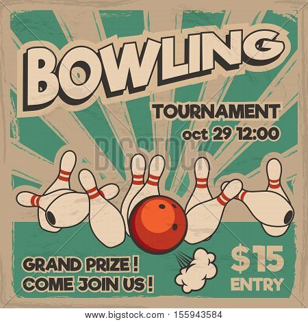 Vector pop art bowling illustration on a vintage background. Bowling strike. Retro bowling tournament poster design concept. poster