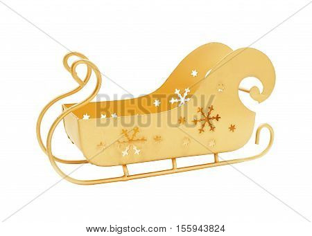 Sleigh of Santa Claus gold color empty isolated on white
