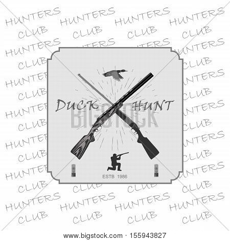 two rifles for hunting. man shoots. at the top of the duck flies.  totally vector illustration. Isolate on white background.