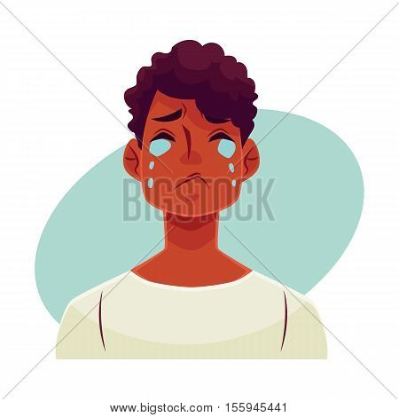 Young african man face, crying facial expression, cartoon vector illustrations isolated on blue background. Handsome boy emoji crying, shedding tears, sad, heart broken, in grief.