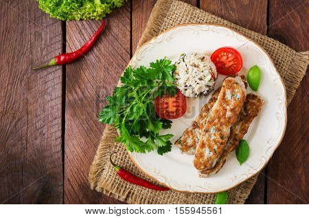 Minced Lula Kebab Grilled Turkey (chicken) With Rice And Tomato. Top View